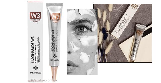 Локальный осветляющий крем против пигментных пятен и темных кругов под глазами Medi-Peel Niacine W3 Toning Spot Cream.